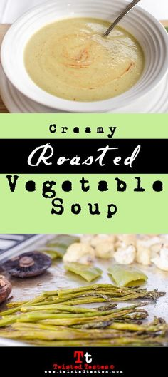 Creamy Roasted Vegetable Soup: Roasted veggies, transformed into a heat-kickin', rich & creamy soup. This is a vegan recipe, but will still please the most beefiest eaters.