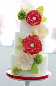 Torta Boda en Rojo y Verde
