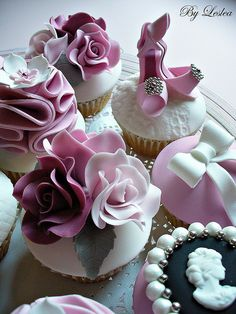 Ruffled roses, pink heels and cameo pearl cupcakes. Pretty for tea parties.