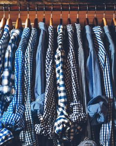 agentlemanathomeandabroad: Two weeks worth of blue check shirts. Looks like my closet, except my hangers match.