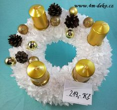 Vypichovaný látkový adventní věnec bílý. Pearl Earrings, Pearls, Jewelry, Pearl Studs, Jewlery, Jewerly, Beads, Schmuck, Jewels
