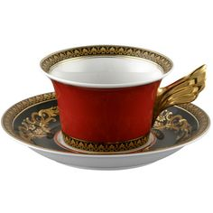 Versace Medusa Teacup & Saucer ($235) ❤ liked on Polyvore featuring home, kitchen & dining, drinkware, food, black, black tea cup, versace and versace tea cup