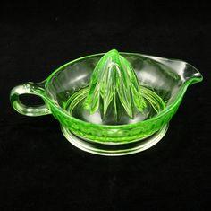 Hocking Green Depression Glass Juicer Reamer w Handle Vintage. $27.00, via Etsy.