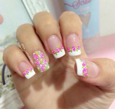 Flores Crazy Nail Art, Crazy Nails, Pretty Nail Art, Hello Nails, French Tip Nails, French Manicures, Flower Nail Art, Art Flowers, Get Nails