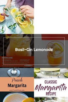 Basil-Gin Lemonade with Basil, Sugar, Gin, Fresh Lemon Juice, Triple Sec, Orange, Ice. Gin And Lemonade, Triple Sec, Margarita Recipes, Pineapple Juice, Fresh Lemon Juice, Rum, Basil, Peach, Sugar