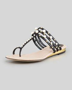 b3367d49df38 Pearly T-Strap Flat Sandal