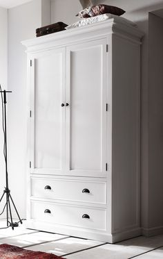 Bonsoni Whitle Painted Double Wardrobe With Drawers Hand Crafted Furniture Using Solid Plantation Mahogany Wood