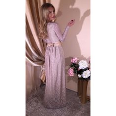 Cappuccino Maxi Lace Evening Dress (€98) via Polyvore featuring dresses, holiday dresses, lace maxi dress, cocktail maxi dresses, holiday cocktail dresses and stretchy maxi dress