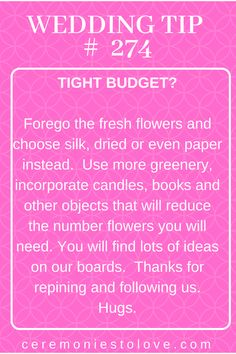 When you wedding budget is tight, your planning can become stressful. You may have a spreadsheet and a cost breakdown, and the simple fact is you are going to have to make some cuts somewhere. Before you panic, read this helpful tip, think about all the things that have special meaning and incorporate them into your wedding day. Thanks for repining and following our board for more ideas and advice for your perfect wedding day. Hugs. www.ceremoniestolove.com