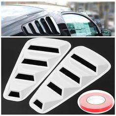 Pair White Side Window Louvers Scoop Cover Vent For Ford Mustang 2005-2014