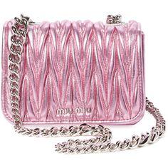 Miu Miu Women's Mini Matelassé Leather Crossbody - Pink ($1,269) ❤ liked on Polyvore featuring bags, handbags, shoulder bags, pink, cross-body handbag, mini crossbody purse, chain strap shoulder bag, leather handbags and shoulder strap bags