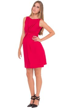 Olian Lucy Sleeveless Knot Front Maternity Dress   Maternity Clothes www.duematernity.com  Red Maternity Dress for a holiday Christmas party