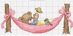 A teddy bear over the hamaca               - free cross stitch patterns crochet knitting amigurumi