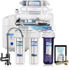 NU Aqua Platinum Series 6 Stage Alkaline 100GPD RO System with Booster Pump.  PREINSTALLED BOOSTER PUMP: If your water source provides you little to no water pressure don't worry. This systems comes with a heavy duty booster pump to bring your water pressure to optimal levels. At 100 GPD this system doubles the output of standard under sink drinking water filtration systems while increasing contaminant rejection rates and providing a taste superior to bottled water ... Drinking Water Filter, Best Water Filter, Water Filters, Home Water Filtration, Water Purification, Aqua, Stage, Reverse Osmosis System, Thing 1
