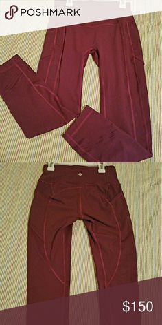 Lululemon All The Right Places Pant crop sz.6 Worn once, too big for me, beautiful rare color(maroon), cold handwash, air dried. NEW CONDITION. lululemon athletica Pants Ankle & Cropped