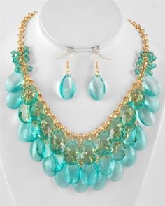 MULT ROW TEAR DROP NECKLACE SET