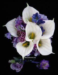 White Calla Lilies, Purple & Lavender Hydrangeas Wedding Bouquet Set