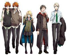 ein verrücktes Gespann; bestehend aus Fred & George, Luna, Neville und Draco!