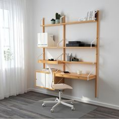 """SVALNÄS Wall-mounted workspace combination, bamboo, white 59x13 3/4x69 1/4 """""""