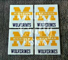 University of Michigan coasters, set of four, U of M coaster, Michigan gear, Michigan fan gift, Michigan Wolverines, Go Blue, man cave gift - pinned by pin4etsy.com