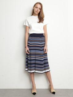 ニットマルチボーダースカート(膝丈スカート)|Mila Owen(ミラ オーウェン)|ファッション通販|ウサギオンライン公式通販サイト
