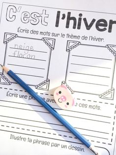 Le cahier de Pénélope: C'est l'hiver...à vos crayons!!! Core French, French Class, French Teacher, Teaching French, Teaching Class, Teaching Resources, Play Based Learning, Kids Learning, Literacy Games