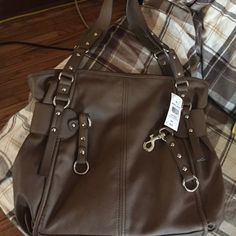 Clip tote Milano Collection Brown Imitation leather with pockets in the inside and side Milano Collection Bags Totes