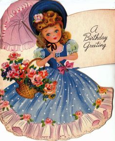 I remember this card so well. Inside the girl had different colored dresses.