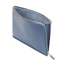 Burlington Large Pouch in steel blue deerskin Leather Gifts, Leather Clutch Bags, Leather Bags Handmade, Leather Craft, Leather Wallet, Large Clutch Bags, Tote Bags, Leather Bag Tutorial, Leather Folder
