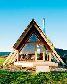 Architecture – Enjoy the Great Outdoors! Tiny House Cabin, Tiny House Design, Cabin Homes, A Frame Cabin, A Frame House, Cabins In The Woods, House In The Woods, Lakefront Property, Wooden Cabins