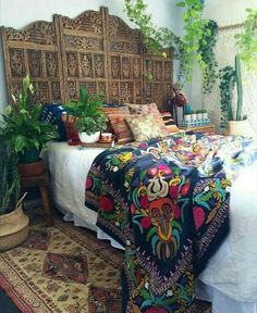 moroccan madness up in here today duchess velvet vintage hand embroidered suzani on the bed beautiful vintage silk belgian runner on the floor - Gypsy Bedroom