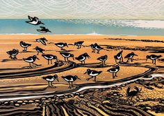 'Oystercatchers' By Printmaker Rob Barnes. Blank Art Cards By Green Pebble. www.greenpebble.co.uk