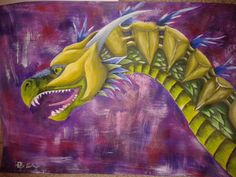 warrior dragon  acrylic painting 2014 by Diana Barber