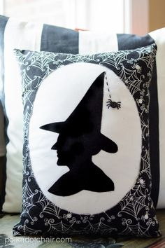 "Download FREE PDF Witch Silhouette here: http://www.polkadotchair.com/templates/ ""Witches Silhouette"" A Halloween Pillow Pattern from polkadotchair.com"