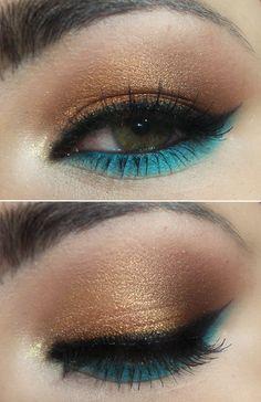 Passo a Passo – tutorial inspirado em make dourado e turquesa de Demi Lovato