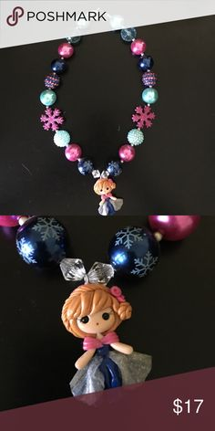Frozen Anna chunky bubblegum necklace Handmade, very high quality Anna chunky bubblegum necklace. Great for photo shoots or simply dress up your little ones outfit. Disney Jewelry Necklaces