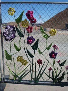 A created garden in Denver to hide construction