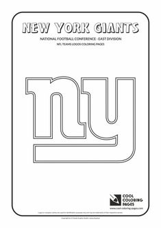 Cool Coloring Pages - NFL American Football Clubs Logos - National Football Conference - East Division / New York Giants logo / Coloring page with New York Giants logo Panda Coloring Pages, Football Coloring Pages, Sports Coloring Pages, Printable Adult Coloring Pages, Cool Coloring Pages, Free Coloring, New York Giants Logo, Football Team Logos, Coloring Pages Inspirational