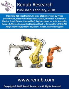 """Global Industrial Robotics Market is expected to surpass more than US$ 70 Billion by the end of year 2024. Renub Research report titled """"Industrial Robotics Market, Volume Global Forecast by Types (Automotive, Electrical & Electronics, Metal, Chemical, Rubber and Plastics, Food, Others, Unspecified), Regions (America, Asia, Australia, Europe & Africa) and Companies"""" provides a comprehensive assessment of the fast–evolving, high–growth of Industrial Robotic Market."""