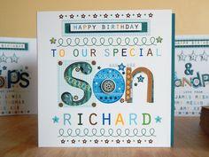 Son birthday-card-Personalised-Special-son birthday-card-SON birthday card SON #VickyJonesDesign #BirthdaySON