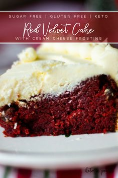 Rich and velvety Keto Red Velvet Cake with Cream Cheese Frosting. Less than 3 ne… Rich and velvety Keto Red Velvet Cake with Cream Cheese Frosting. Less than 3 net carbs per serving and basic gluten free ingredients! Low Carb Sweets, Low Carb Desserts, Low Carb Recipes, Keto Cookies, Brownie Cookies, Chip Cookies, Keto Regime, Keto Birthday Cake, Cake Recipes