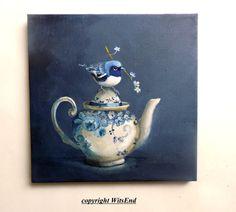 Bird Teapot painting original ooak art Warbler on by 4WitsEnd