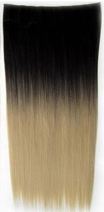 Clip in hair extension strook / Ombre zwart - donker blond / 60 cm