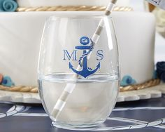 Personalized 9 oz Stemless Wine Glass - Nautical Wedding Collection