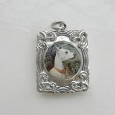 Sterling Silver & Enamel Jack Russel Dog Stamp Holder Pendant Locket