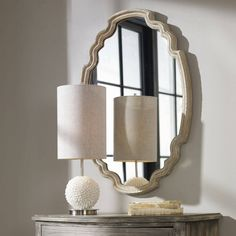 This Ornate Oval Wood Wall Mirror is great for making your room look brighter and more stylish. This wall mirror matches well with any color interior and many design styles. FINISH: aged wood finish accented with a gray wash. Painted Fox Home, Uttermost Mirrors, Urban Decor, Curved Wood, Wood Mirror, Mirror Mirror, Wall Mirrors, Aging Wood, Wood Bathroom