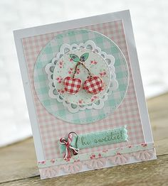 card cherry cherries berries sweet summer treats - vintage shabby chic - Paper Girl Crafts: A Surprise Gift Cricut Cards, Crafts For Girls, Copics, Paper Cards, Homemade Cards, Homemade Breads, Baby Cards, Creative Cards, Cute Cards