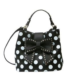 Love this Betsey Johnson Black & White Polka Dot Bow Hobo by Betsey Johnson on #zulily! #zulilyfinds