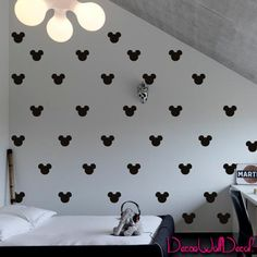 Set of 150 Mickey Mouse Head Inspired Ears Polka Dot Wall Decal Decor Decals Sticker Art Baby Nursery Surface Graphics Bedroom Bed Maden in USA DecorWallDecals Mickey Mouse Wall Decals, Mickey Mouse Room, Minnie Mouse, Mickey Mouse Bathroom, Mickey Head, Polka Dot Walls, Polka Dot Wall Decals, Wall Stickers, Sticker Vinyl
