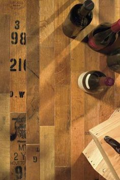 Reclaimed Wine Barrel Flooring. Click here to see more designs http://www.winecellarspec.com/floors-and-tabletops/#. Wine Cellar Specialists 4421 Cedar Elm Circle Richardson, TX 75082 Toll Free: 866-646-7089 Texas Office: 972-454-0480 Illinois Office: 773-234-0112